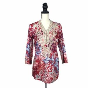 Charter Club Weekend Embroidered Floral Tunic